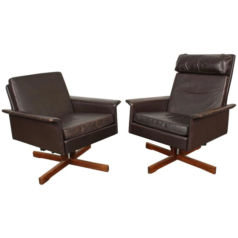 Pair of midcentury swivel leather lounge chairs for sale for Swivel club chair leather