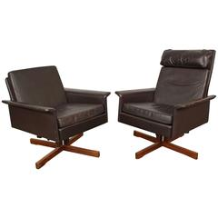 Pair of Midcentury Swivel Leather Lounge Chairs