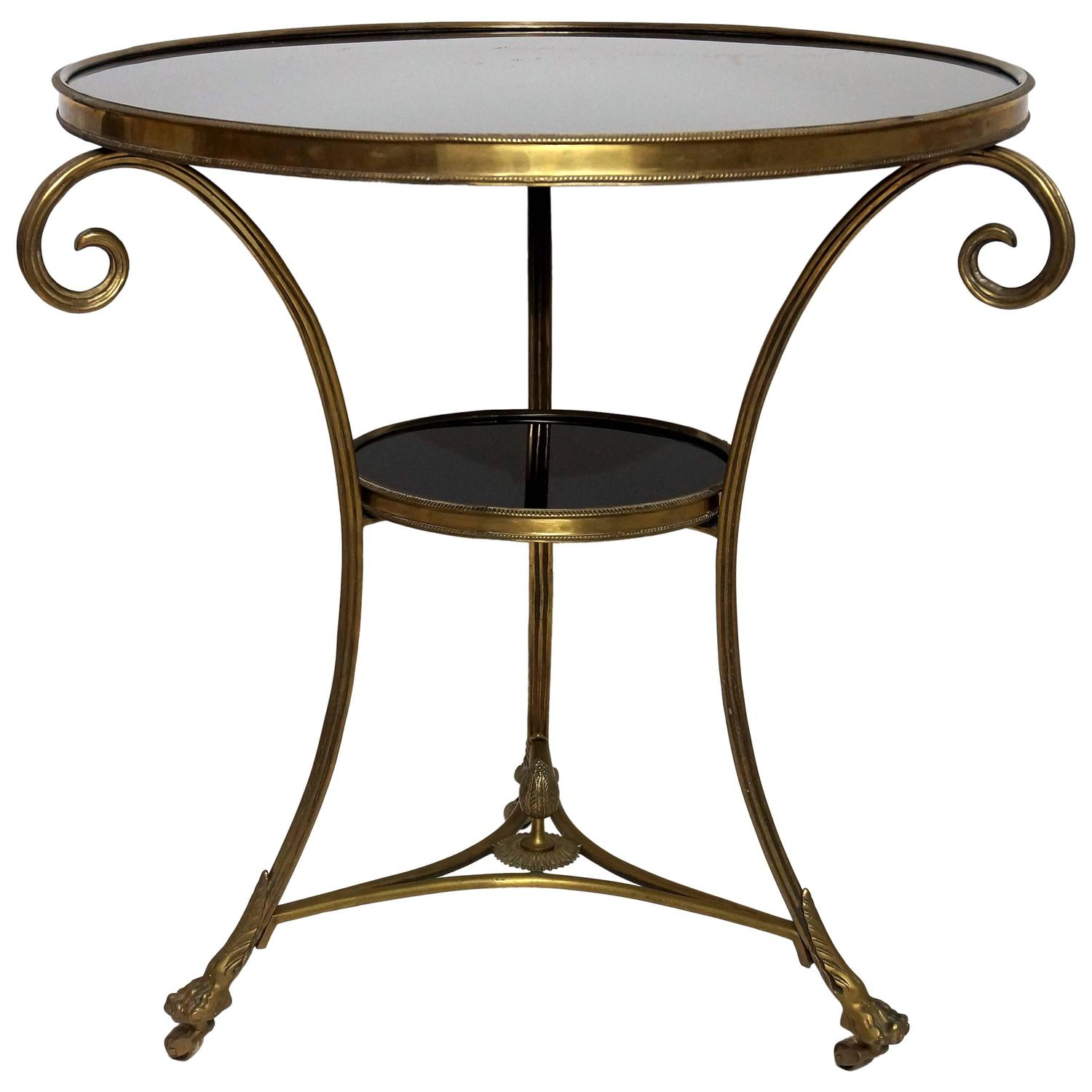 Charles x style two tier gueridon table in bronze and for Table gueridon