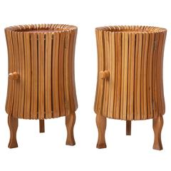 Pair of Wooden Italian 1950s Bed Stands