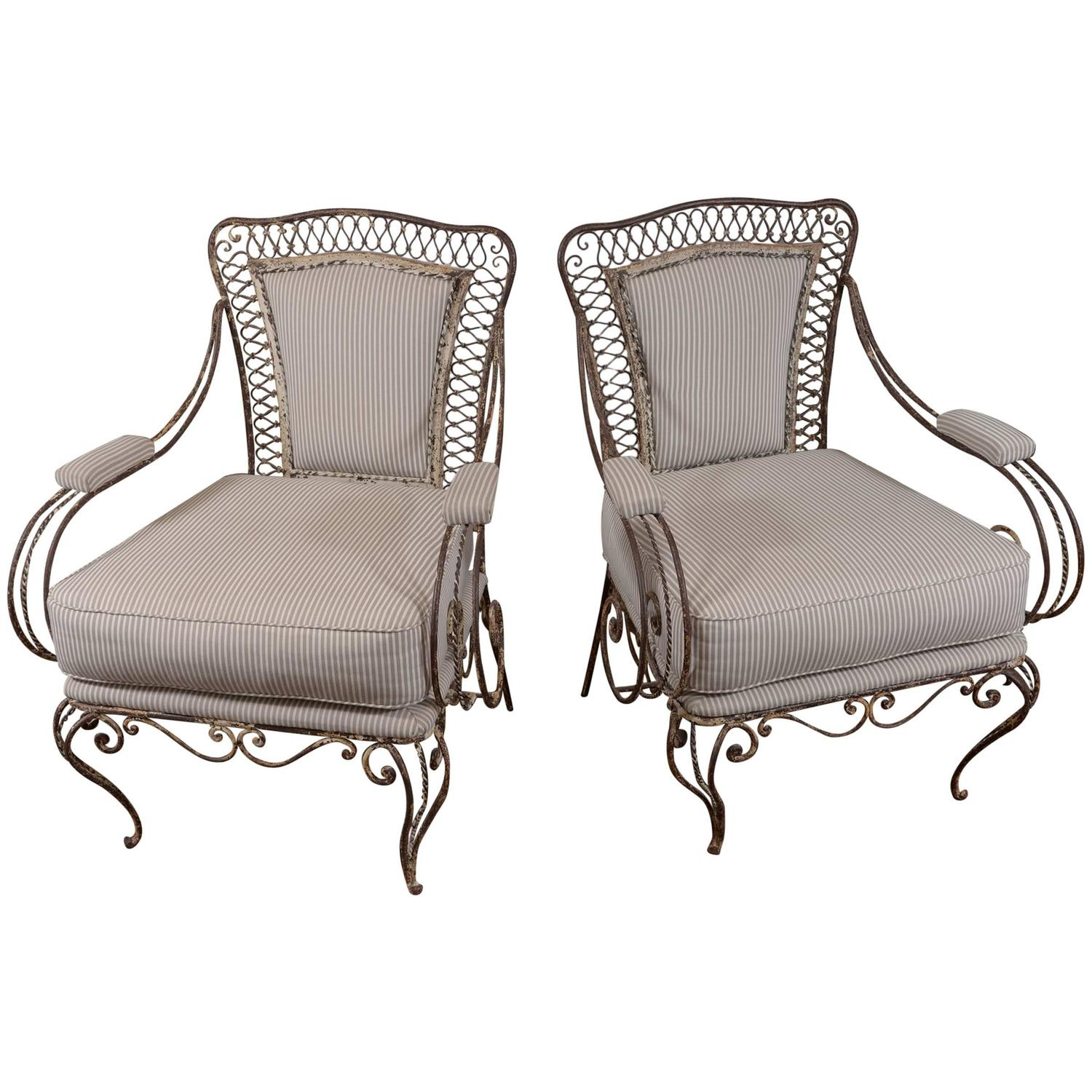 French iron garden chairs circa 1920 at 1stdibs French metal garden furniture