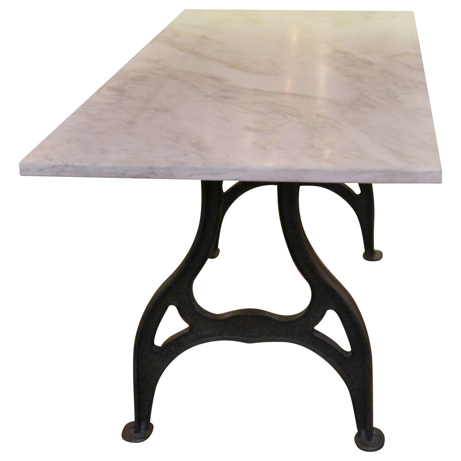 Reclaimed Marble Table with Cast Iron Industrial Legs at 1stdibs