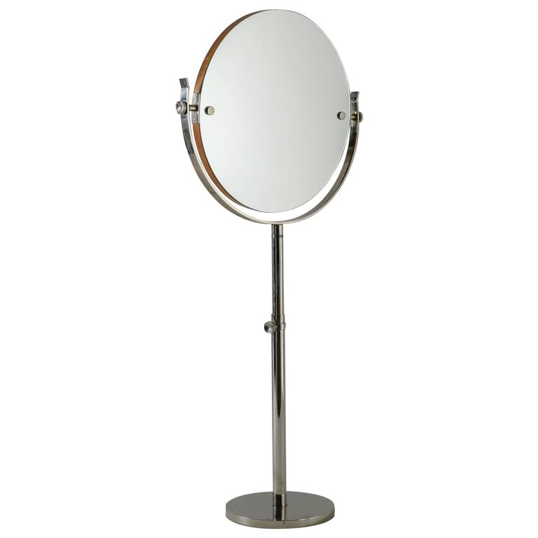 Attrayant Large Height Adjustable Nickel Vanity Or Shaving Mirror, Sweden, 1950s For  Sale
