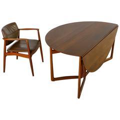 Peter Hvidt Drop-Leaf Desk with Eric Buck Desk Chair, Denmark, 1960s