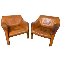 Pair of Large CAB Lounge Chairs by Mario Bellini for Cassina