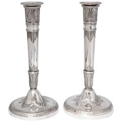 Fabulous Pair of First Empire French Sterling Silver Candlesticks