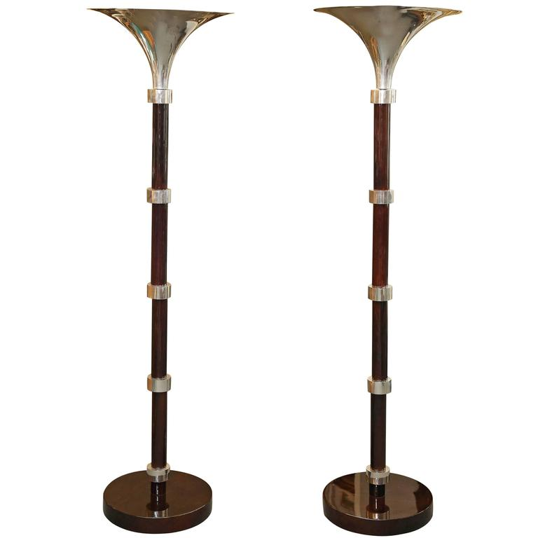 Torchiere rosewood and chrome floor lamp at 1stdibs for Floor lamp vs torchiere