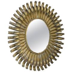 Spanish Gilt Iron Sunburst Mirror, circa 1960s