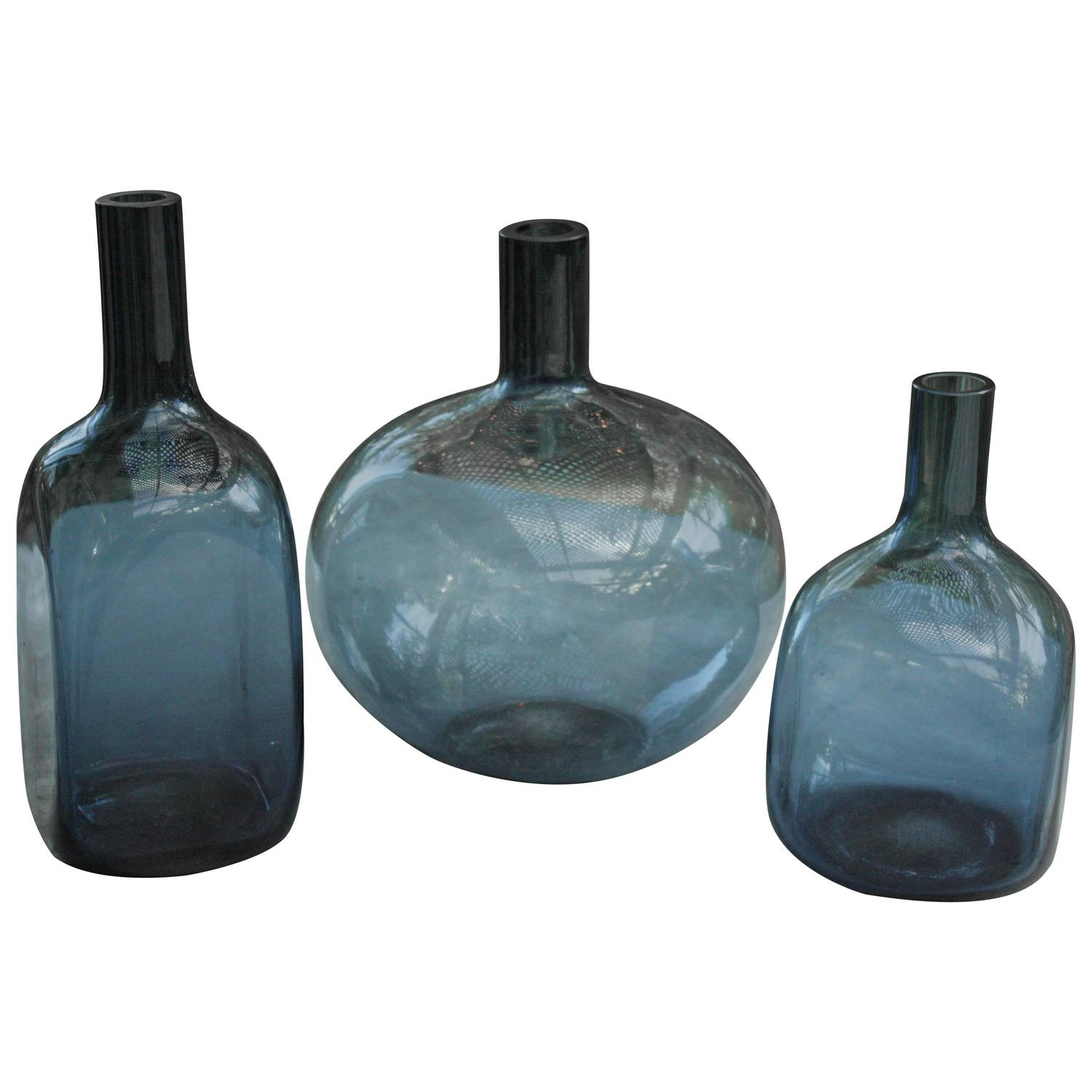 Set Of Three Vintage Translucent Italian Blue Glass Vases