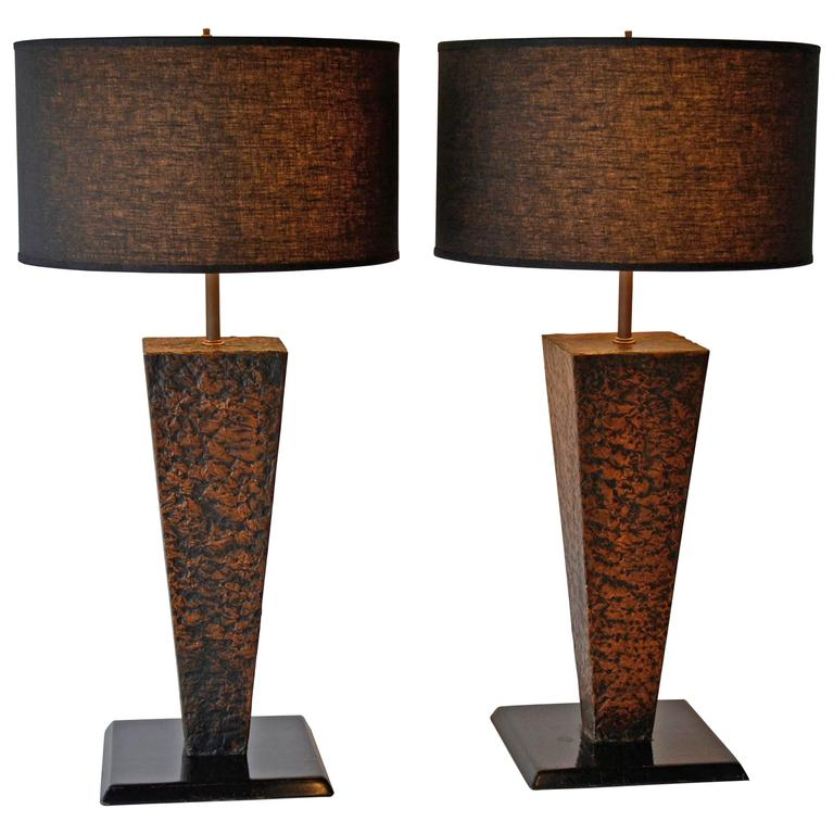 contemporary lamps table copper concrete lighting ashburn lamp