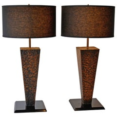 Pair of Arts & Crafts Hammered Copper Table Lamps, Handcrafted, 1950's