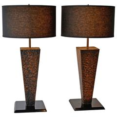 Mid-Century Modern Pair of Hammered Copper Table Lamps, 1950s