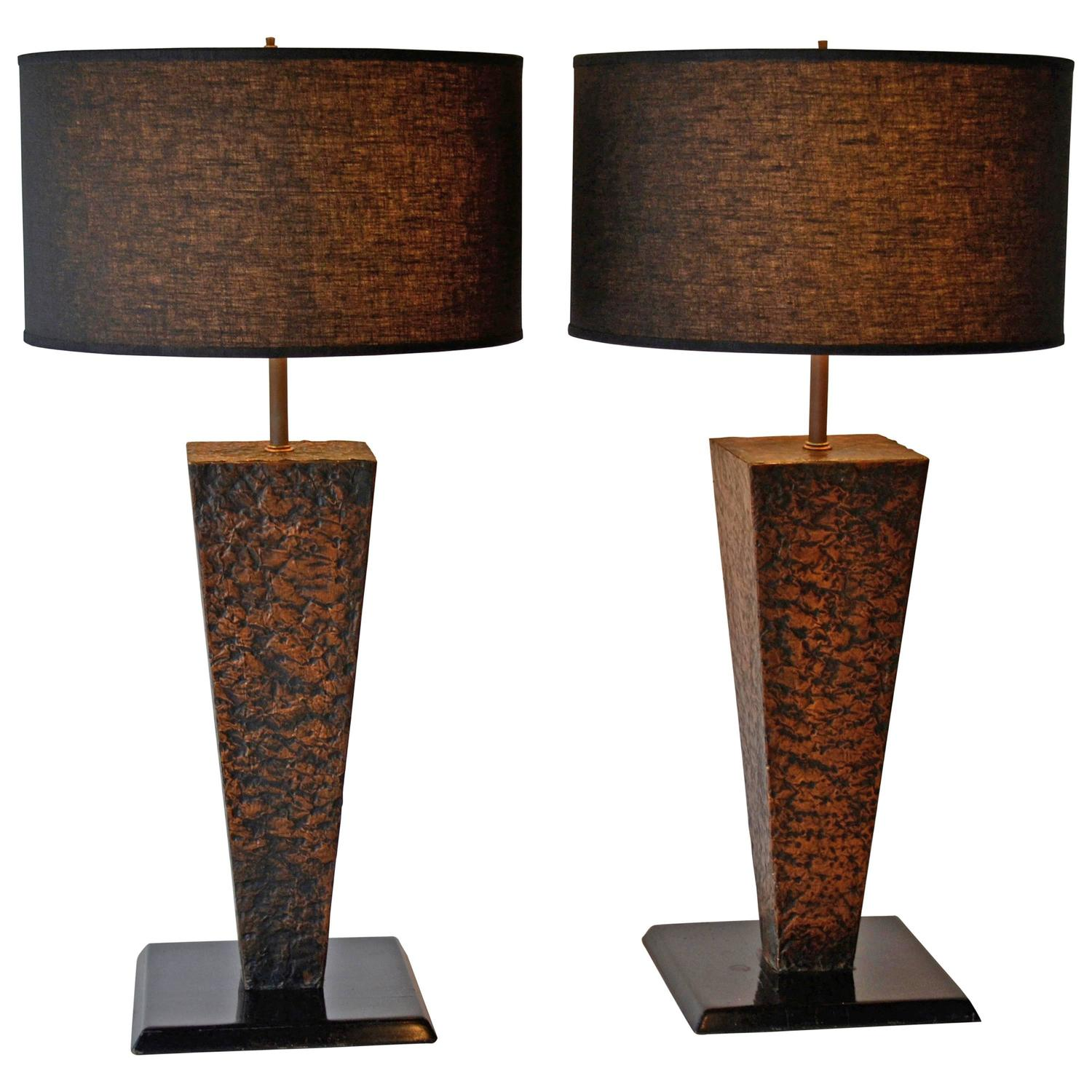 mid century modern hammered copper table lamps 1950s for sale at. Black Bedroom Furniture Sets. Home Design Ideas
