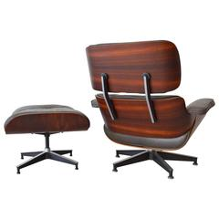 Rosewood Eames Lounge Chair with Matching Ottoman