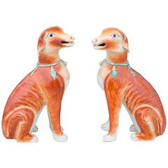 Pair of Chinese Export Porcelain Seated Open-Mouthed Hounds, 18th Century