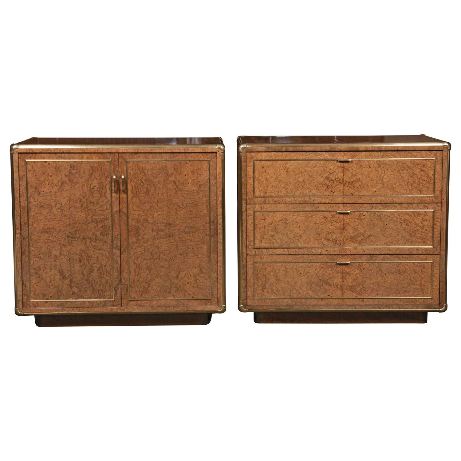 Pair of burl wood and brass mounted campaign style side for Burl wood kitchen cabinets