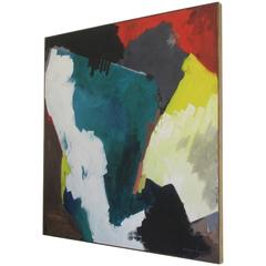 Large Framed Abstract Oil Painting on Canvas by Bernard Samilow, 1972