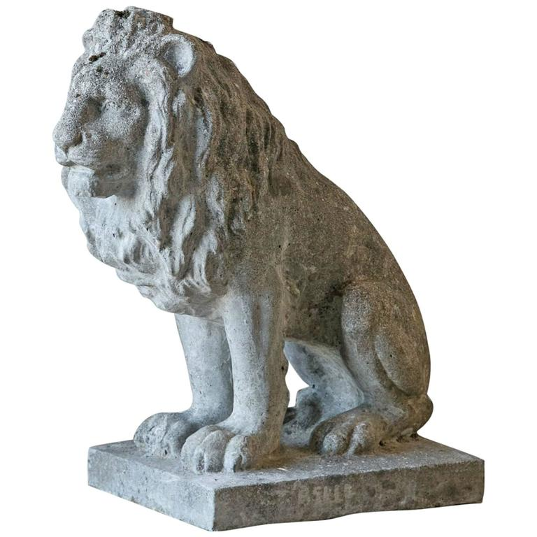Antique French Stone Lion Statue 1930 At 1stdibs