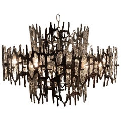Brutalist Chandelier in Chromed Plastic