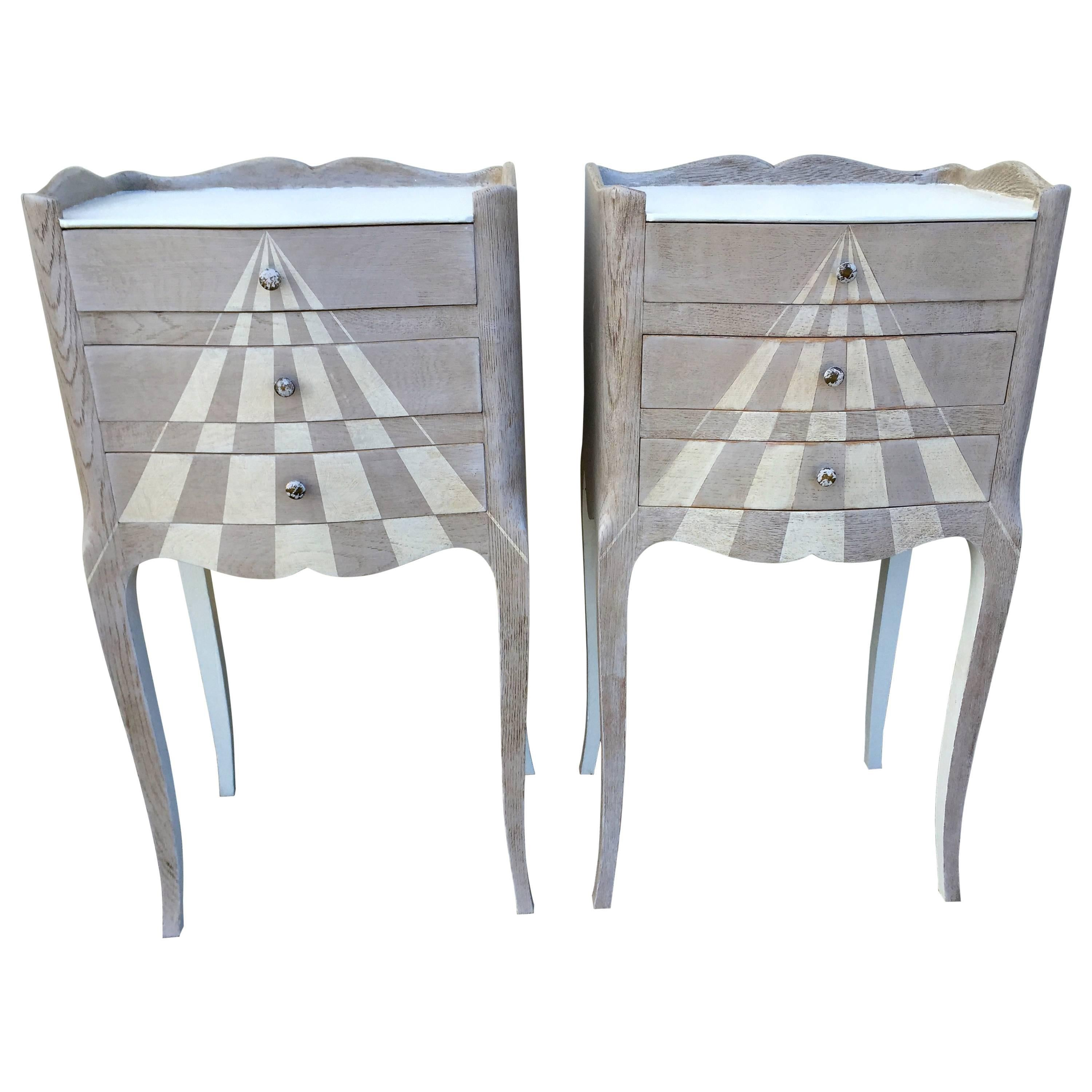 Pair of Whimsical Painted French Oak Nightstands