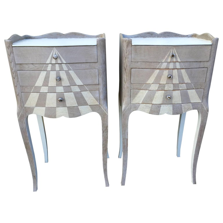 Pair of Whimsical Painted French Oak Nightstands For Sale