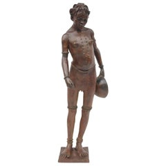 """BrJacques Darbaud, """"Young lady with a gourd"""", bronze sculpture"""