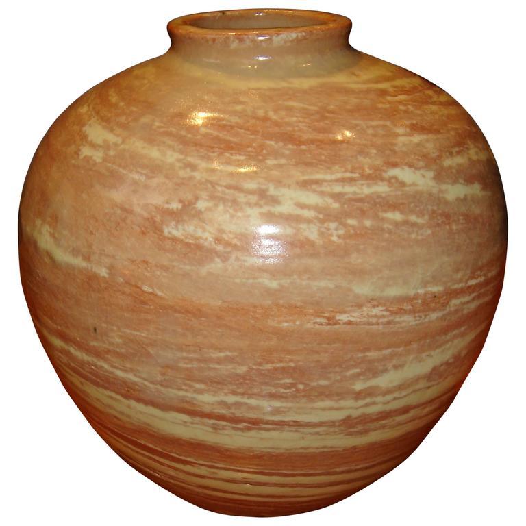 Jacques Lenoble Glazed Ceramic Ball Shape Vase, circa 1935