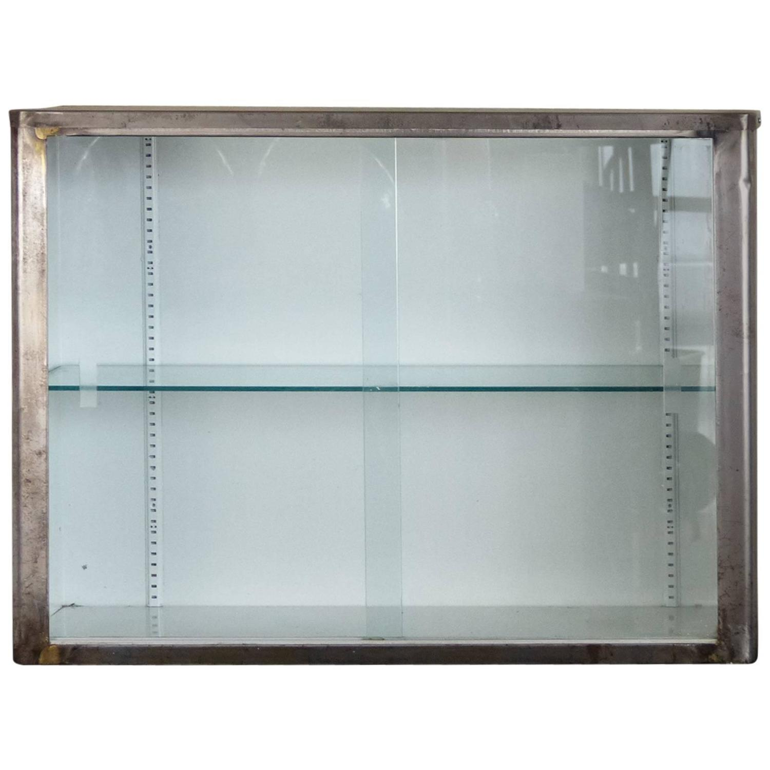 Metal Wall Cabinet steel and glass wall cabinet at 1stdibs