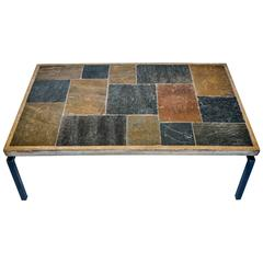 Slate Stone Mosaic Top Table in the Manner of Paul Kingma