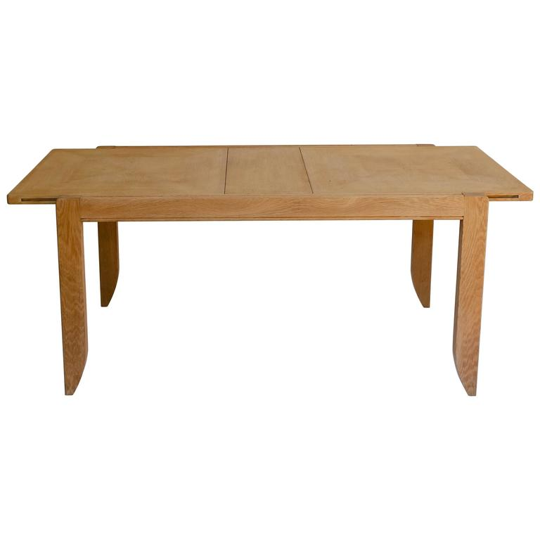 Oak Dining Table with Leaves by Guillerme et Chambron