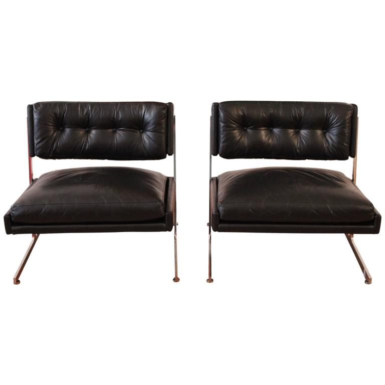 Harvey Probber Chrome and Black Leather Down Filled Lounge Chairs For Sale