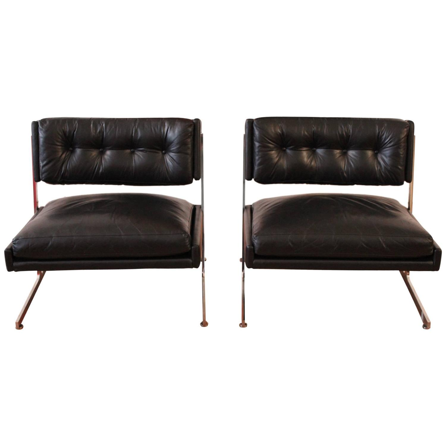 harvey probber chrome and black leather down filled lounge chairs