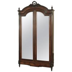 19th Century Neoclassical Rosewood Armoire
