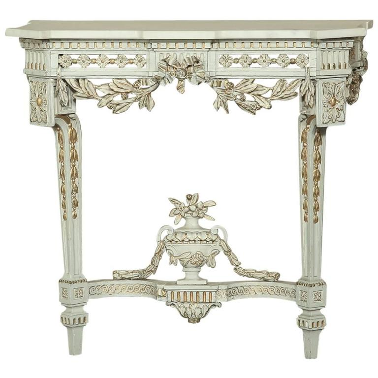 19th Century Swedish Neoclassical Carrara Marble-Top Painted and Gilded Console
