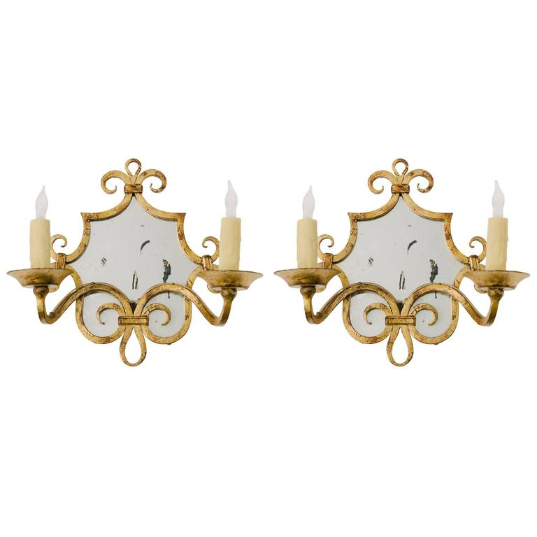 Pair of French Gilt Iron Mirror Sconces For Sale