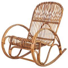Vintage Italian Bamboo Rocking Chair