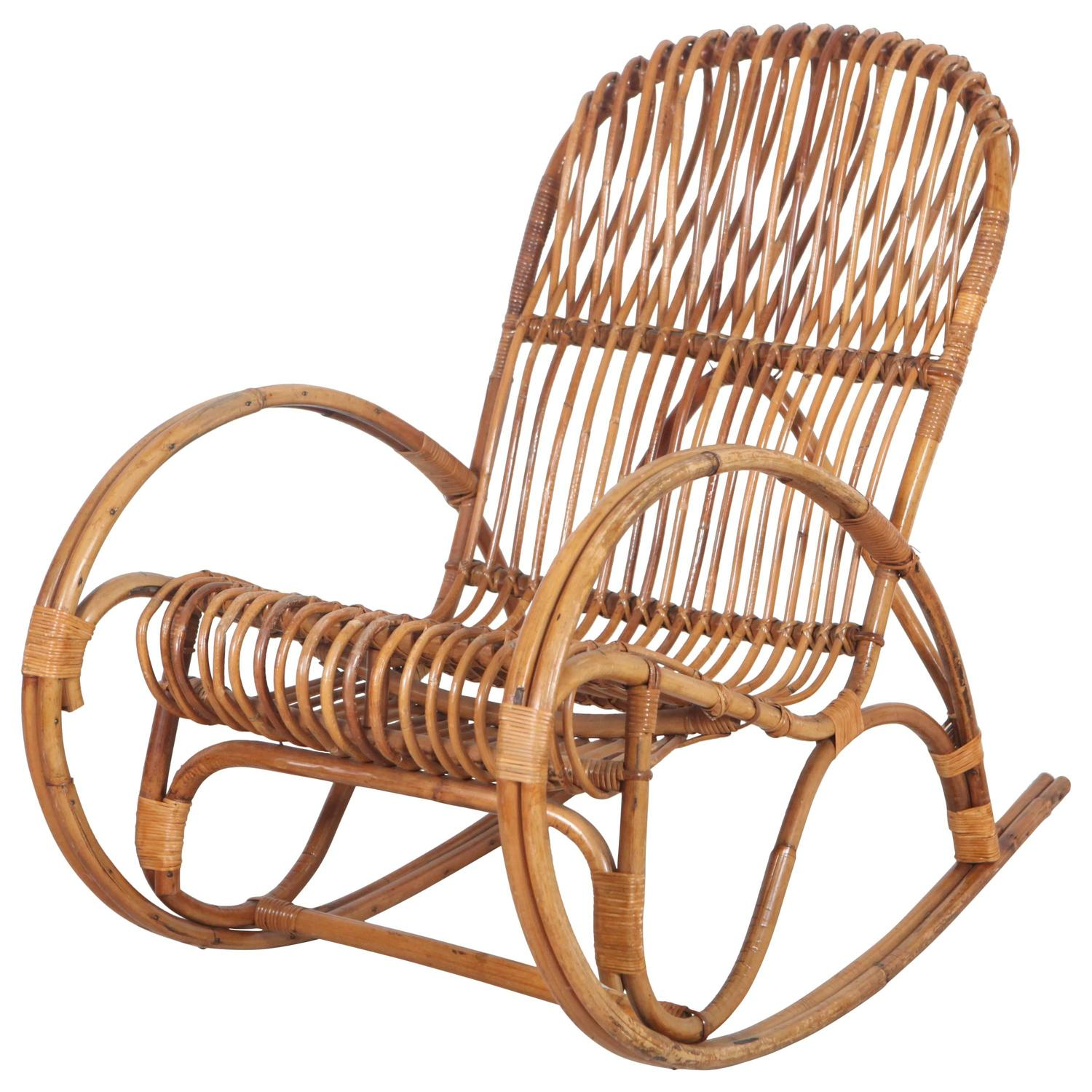 vintage italian bamboo rocking chair for sale at 1stdibs. Black Bedroom Furniture Sets. Home Design Ideas