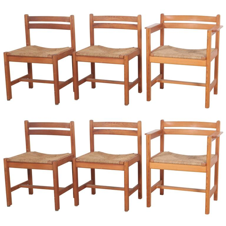 Set of Six Borge Mogensen Rush Seat Dining Chairs For Sale
