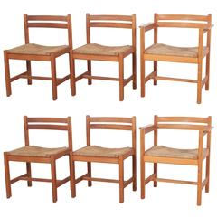 Set of Six Borge Mogensen Rush Seat Dining Chairs