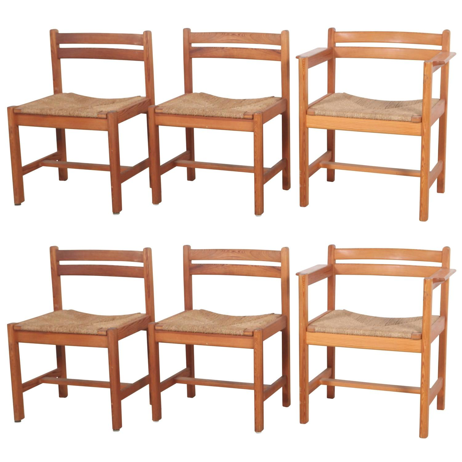 Set of Six Borge Mogensen Rush Seat Dining Chairs For Sale at 1stdibs