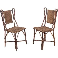 Vintage Italian Wicker and Rush Side Chair