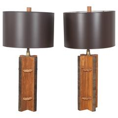 Pair of Vintage Rope and Wood Table Lamps