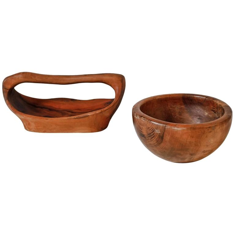 Pair of Sculptural Wooden Bowls, France, 1950s For Sale