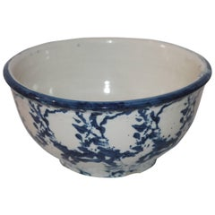 19th Century Sponge Ware Pottery Serving Bowl