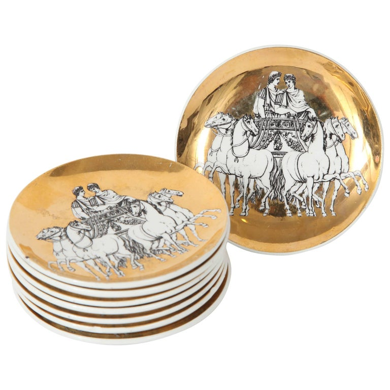 Eight Porcelain Coasters with Chariots by Fornasetti For Sale