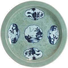 Chinese Porcelain Celedon and Underglaze Blue Dish