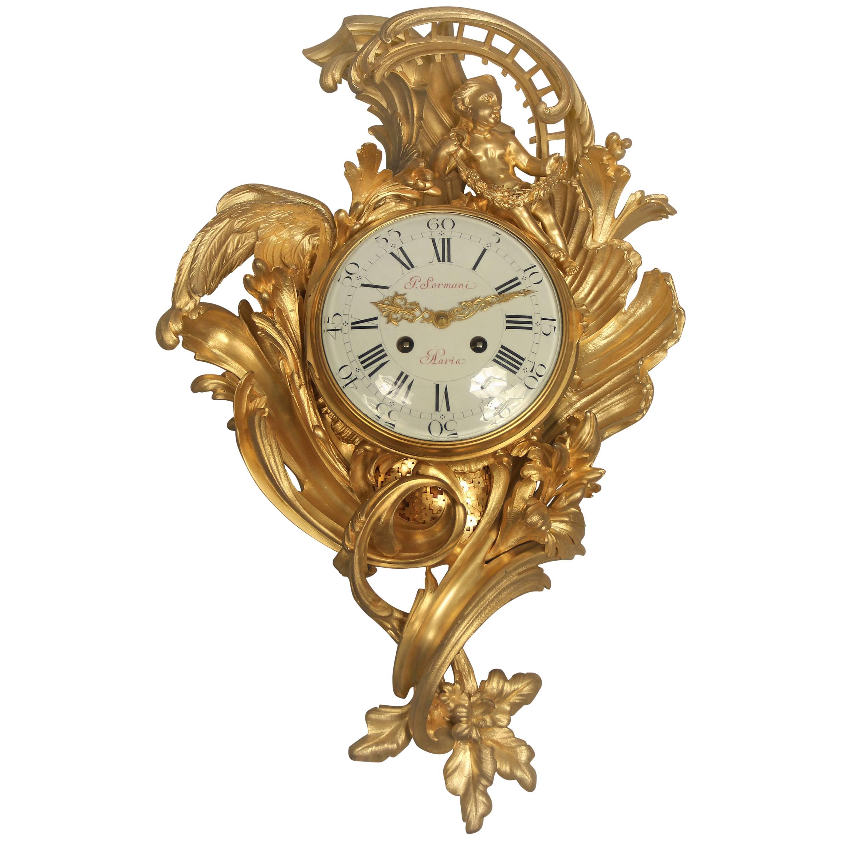 Fine Late 19th Century Louis XV Style Gilt Bronze Cartel Clock by Paul Sormani