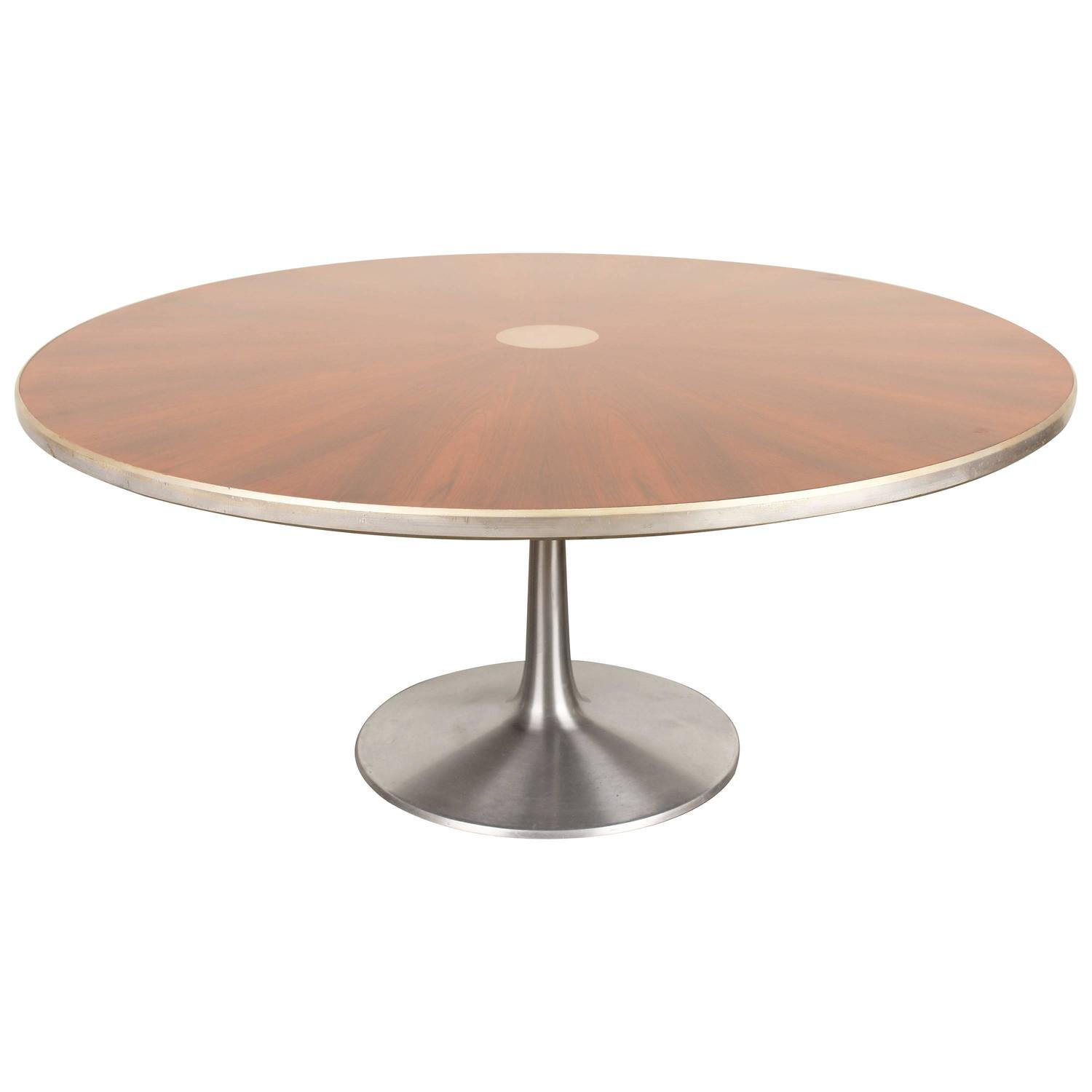 Round rosewood dining table with pedestal base by poul for Dining room table pedestal bases