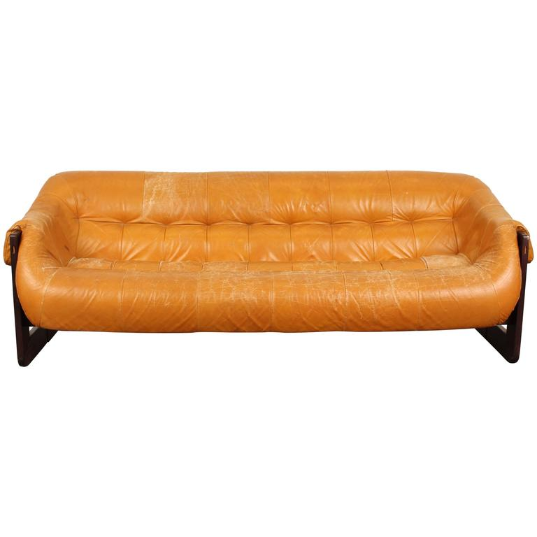 Brazilian Rosewood and Leather Sofa by Percival Lafer at 1stdibs