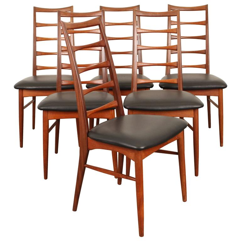 Bon Set Of Six Tall Ladder Back Teak And Leather Dining Chairs By Niels Kofoed  For
